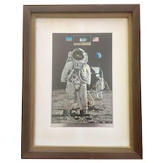 Vintage Apollo 11 Commemorative Etched Foil Print - John Berkey