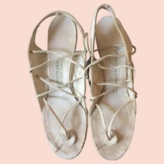 1930's White Leather Sandals Narrow 7 1/2 AA