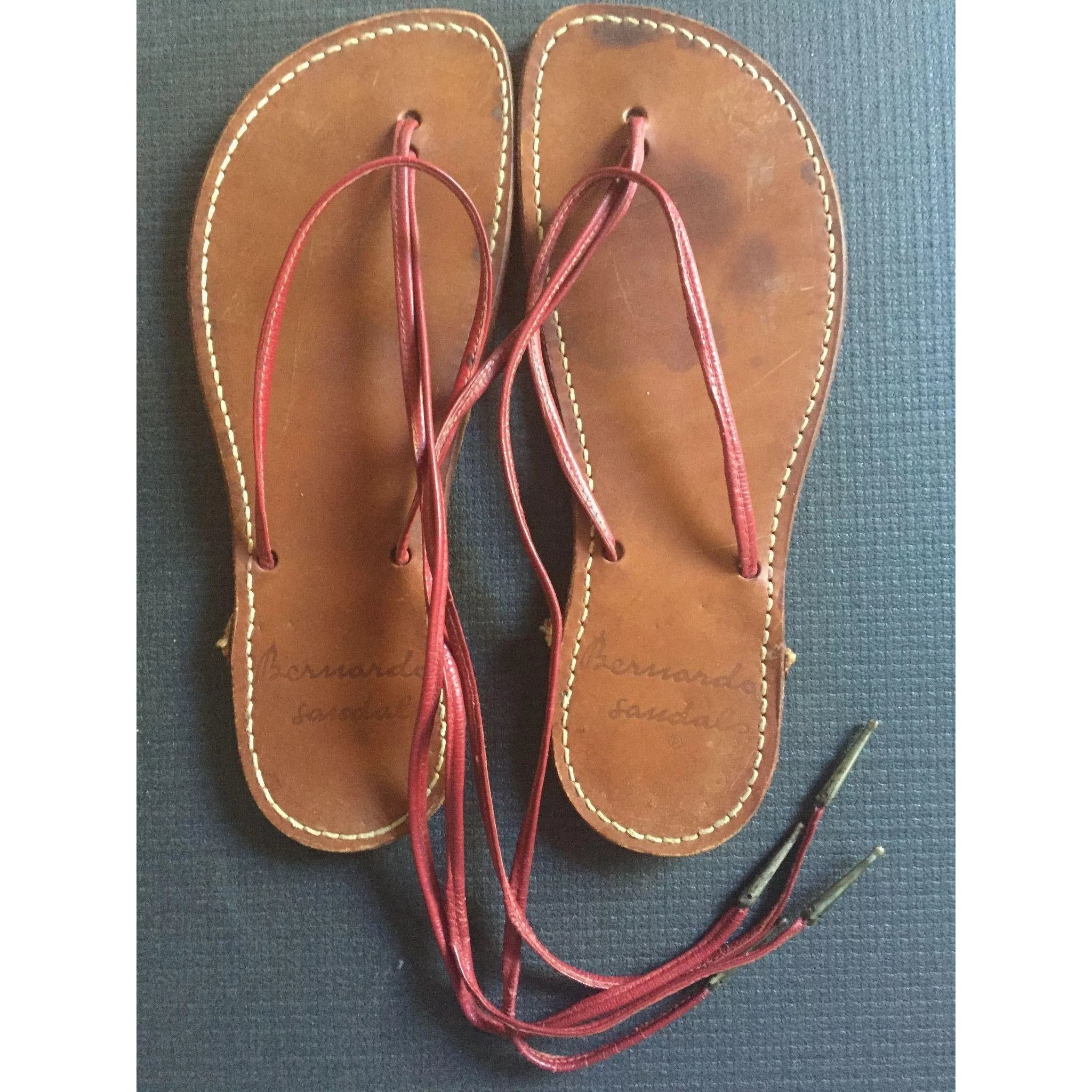 59004fbe0a7 RARE EARLY Bernardo Leather Sandals   Curated Curios and Antiques by Joan