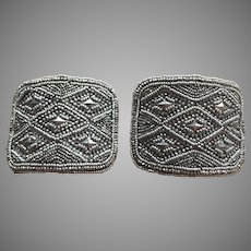 Antique French Cut Steel Bead Shoe Buckles