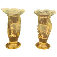 RARE PAIR Fenton Art Glass Miniature Bud Vase Topaz Opalescent