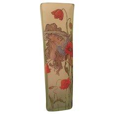 Montjoye Hand Painted Enameled Art Nouveau Vase