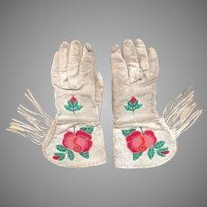 Early 1900s Native American Cherokee Beaded Deerskin Gauntlets