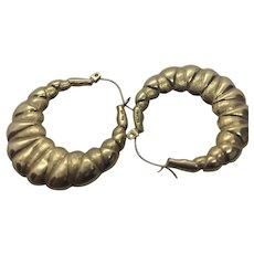 Vintage 14 K Gold Shrimp Style Hoop Earrings