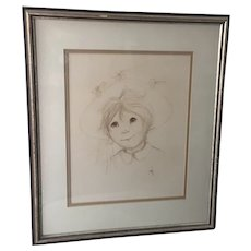 Framed Pastel Charcoal Sketch by Suzi