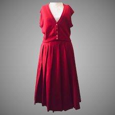 Dalton Coordinates 1950's Cashmere Sleeveless Cardigan and Wood Pleated Skirt