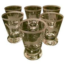 Set of Six Crystal Dog Theme Cordial Juice Tasting Glasses