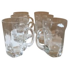 Vintage Handblown Crystal Beer Steins, Set of 6