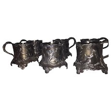 6 WMF Bas Relief Cup Holders- Oxidized Brittannium