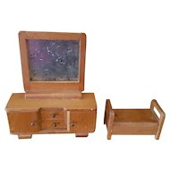 Vintage Dolls House Miniature Dressing Table and Foot Stool - Circa 1920's - 1930's era