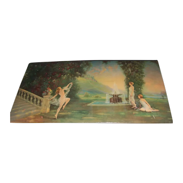 "Art Decor R. Atkinson Fox Lithograph Nude  ""SPIRIT OF YOUTH"" - 1926"
