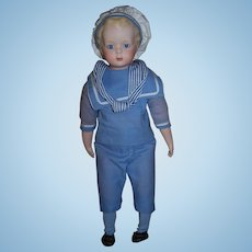 """Gorgeous Artist Made Bisque Boy in Sailor Suit - 17"""" Height"""