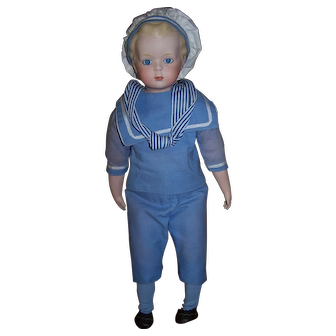 "Gorgeous Artist Made Bisque Boy in Sailor Suit - 17"" Height"