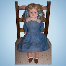 "Antique Papier Mache Patent Washable German Doll in large 26 1/2"" size - Circa 1880's"