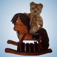 Gorgeous English Farnell Mohair Bear with own rocking horse