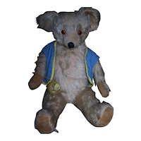Vintage English Knickerbocker Mohair Bear with Toy