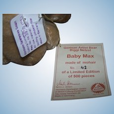 German Hermann Mohair Bear - Baby Max
