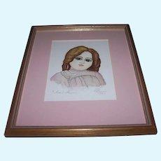 Original Artist Watercolour of Antique Steiner Doll
