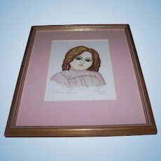 Original Artist Watercolour of Antique Steiner Doll