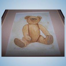 Original Artist Watercolour of Antique Steiff Bear