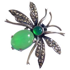 Vintage German Sterling Silver Bug Insect Green Stones Art Deco Brooch