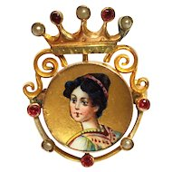 Antique 14K Gold Enamel Jeweled Portrait Victorian Brooch Crown