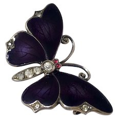 Antique Guilloche Enamel Butterfly Sterling French Paste Brooch