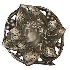 Antique French Depose Ivy Goddess Silver Art Nouveau Brooch Pin