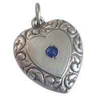 Vintage Puffy Heart Sterling Silver Blue Stone Repousse Charm Pendant