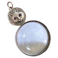 Vintage Cat Pendant Garnet Eyes Magnifier Lorgnette Sterling Silver Victorian Revival