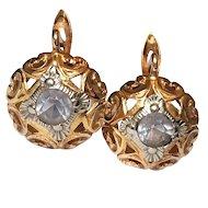 Vintage Russian 18K Gold Earrings