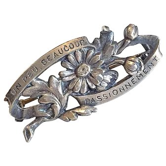 """Rare Antique French Love Token """"Un Peu Beaucoup"""" Silver Passion Brooch Pin"""