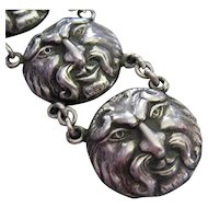 VIntage Satyr Faun Sterling Silver Gothic Victorian Revival Watch Fob