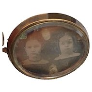 Antique Georgian Haunting Sisters Daguerreotype Photo Morning Memento Mori Victorian Brooch Pin