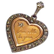 "Antique ""May Your Heart Guide You"" Charm Pendant Sterling Silver 10K Gold"