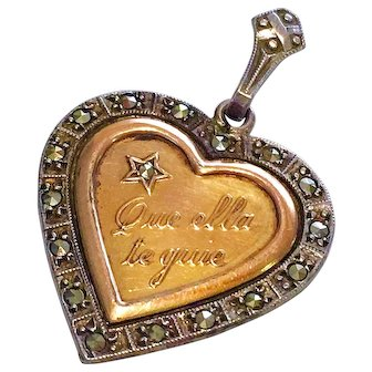 """Antique """"May Your Heart Guide You"""" Charm Pendant Sterling Silver 10K Gold"""
