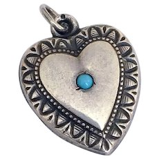 Vintage Puffy Heart Sterling Silver Turquoise Repousse Charm Pendant