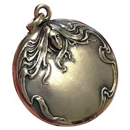 Antique Art Nouveau Locket Woman Flowing Hair Sterling Silver