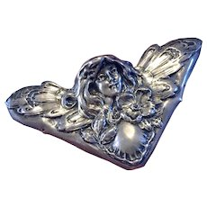Rare Antique Fairy Nymph Art Nouveau Book Corner Sterling Silver Repousse Desk Accessory