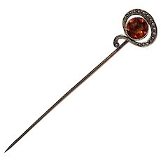 Antique Question Mark 14K Gold Citrine Seed Pearl Mystery Victorian Stick Pin