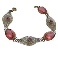 Art Deco Pink Faceted Glass Filigree Vintage 1920's Bracelet