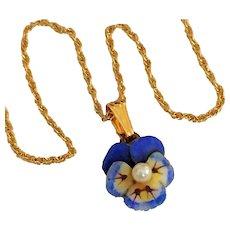 Antique Enamel Pansy 14K Gold Cultured Pearl Art Nouveau Pendant with Chain
