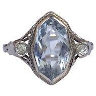 Art Deco Aquamarine Diamond 14K White Gold Filigree Ring