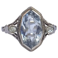 Art Deco Aquamarine Diamond 14K White Gold Filigree Ring