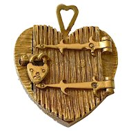 Vintage Heart Locket Victorian Gate Padlock 9ct Gold Pendant