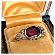 Antique Victorian Art Nouveau Garnet Old Rose Cut Diamond 14K Gold Ring