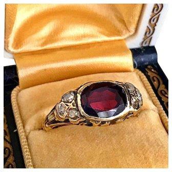 Antique Victorian Art Nouveau Garnet Old Rose Cut Diamond 14K Gold Ring