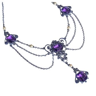 Antique Edwardian Amethyst Sterling Silver Festoon Art Nouveau Necklace