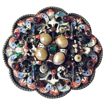 Antique Austro-Hungarian Enamel Cabochon Jeweled 800 Silver Art Nouveau Brooch