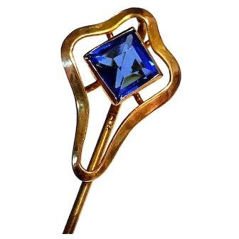 Antique Art Nouveau 10K Gold Sapphire Stone Stickpin Hat Pin